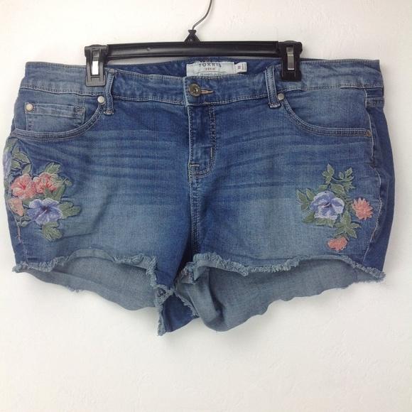 torrid Pants - Torrid distressed denim embroidered shorts
